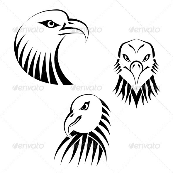 Set Eagles Heads - Animals Characters