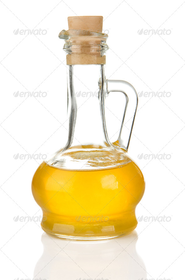 bottle of sunflower oil isolated on white - Stock Photo - Images