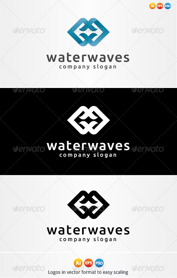 Water Waves Logo - Nature Logo Templates