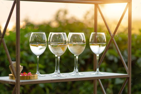 Drink service at restaurant before party. - Stock Photo - Images