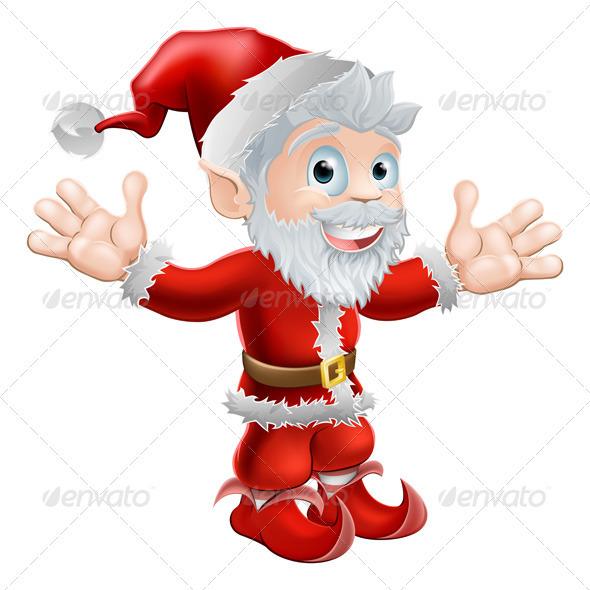Santa waving - Characters Vectors