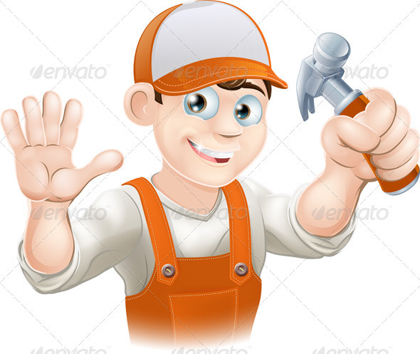 Carpenter or builder with hammer - Characters Vectors