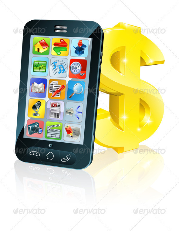 Cell phone and gold dollar sign - Communications Technology