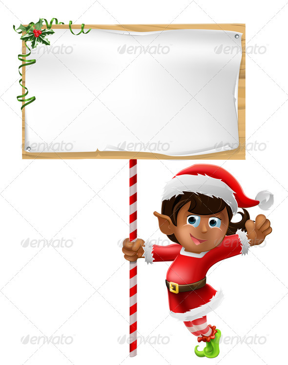 Christmas elf holding a sign - Christmas Seasons/Holidays