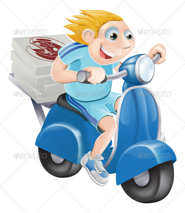 Fast pizza delivery man - People Characters