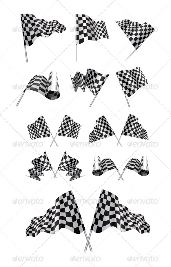 Checkered Flags Set - Sports/Activity Conceptual