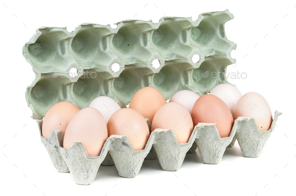 Eggs in carton box - Stock Photo - Images