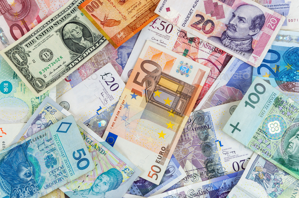 Different currencies banknotes background - Stock Photo - Images