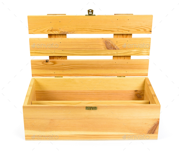 Open wooden crate on white background - Stock Photo - Images