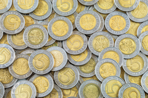 Background of polish coins - Stock Photo - Images