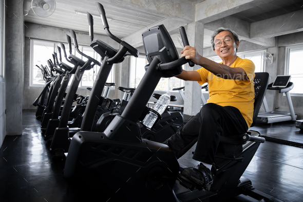 Elderly men are exercising in the gym. - Stock Photo - Images