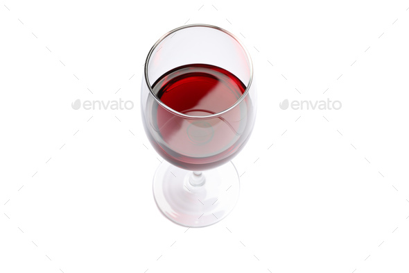 Glass with red wine isolated on white background - Stock Photo - Images