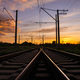 Railroad at sunset. Rail Freight and Passenger Transportation - PhotoDune Item for Sale