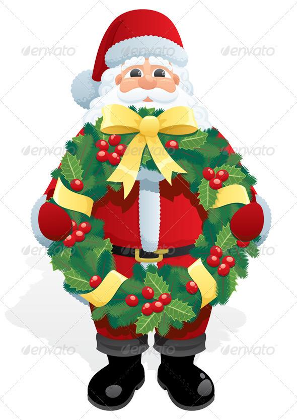 Santa Wreath - Christmas Seasons/Holidays
