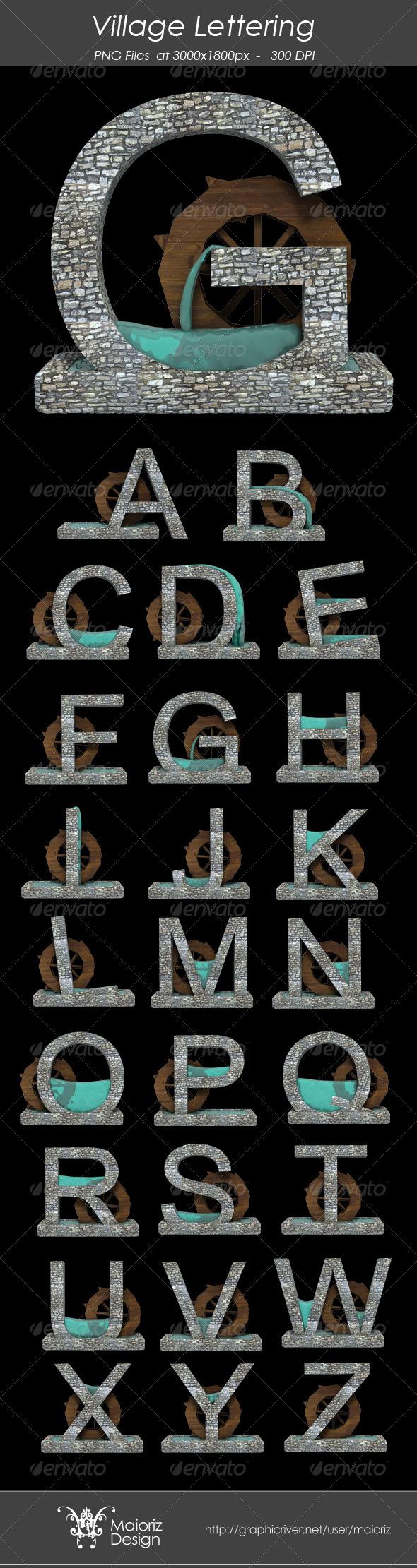 Village Lettering - Text 3D Renders