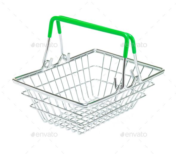 Metal shopping basket on white background isolate - Stock Photo - Images