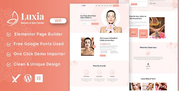 Luxia Beauty & Spa Center WordPress Theme