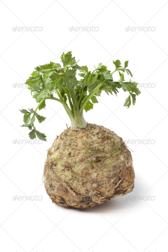 Fresh celery root and leaves - Stock Photo - Images
