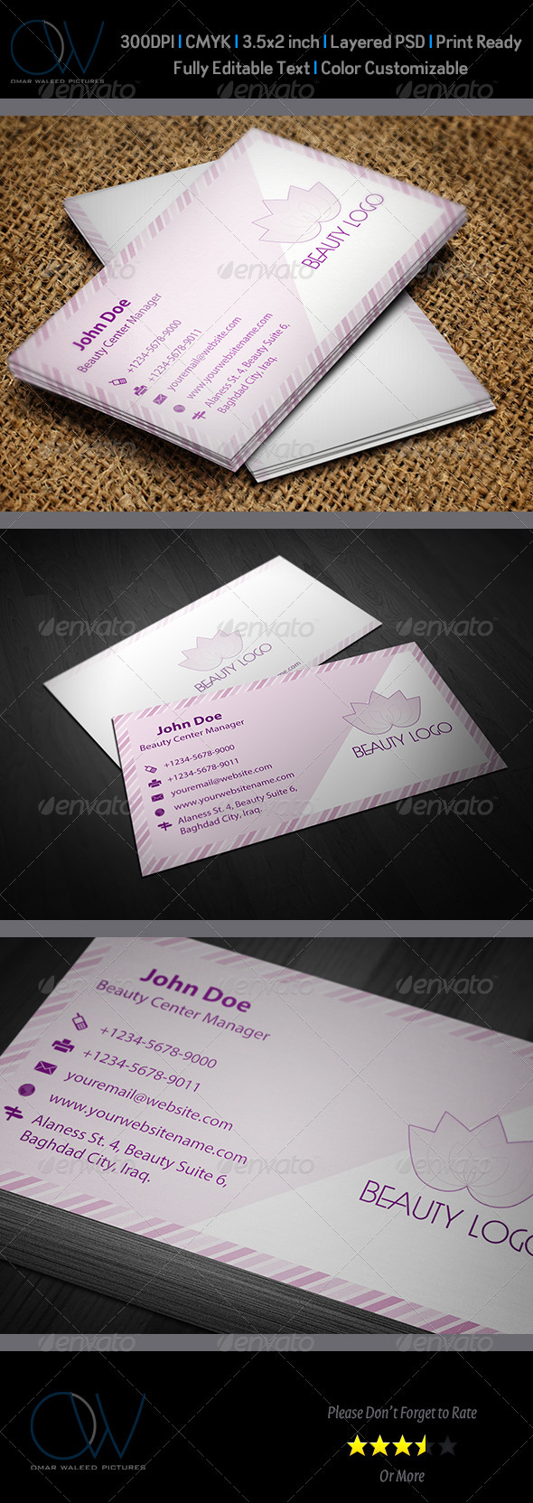 Beauty Business Card - Business Cards Print Templates