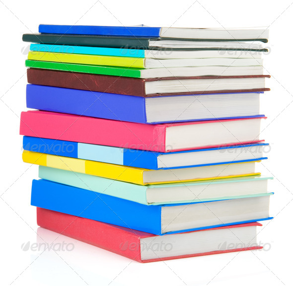 pile of new books isolated on white - Stock Photo - Images