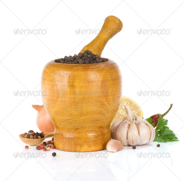 food ingredients and spices on white - Stock Photo - Images