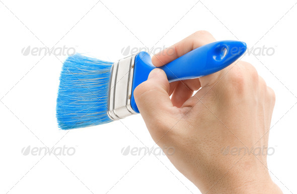 hand and brush isolated on white - Stock Photo - Images