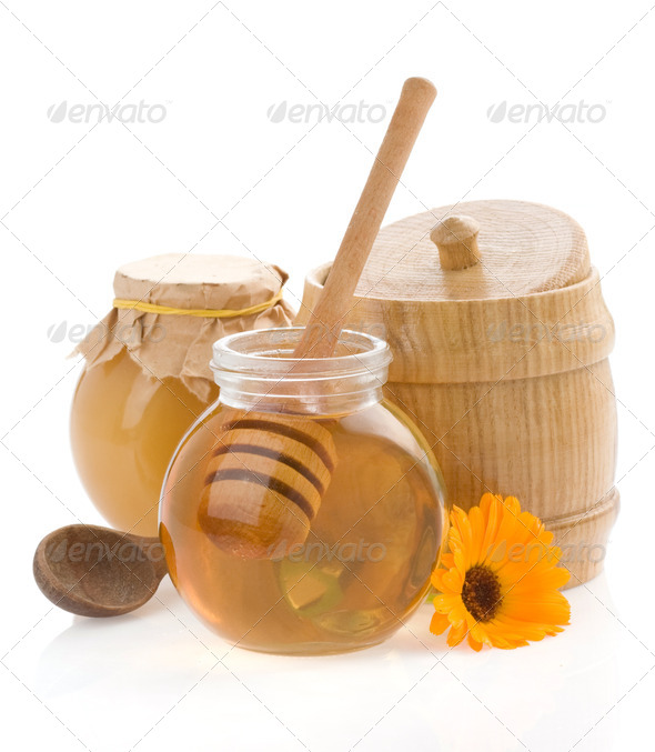 honey and flower isolated on white - Stock Photo - Images