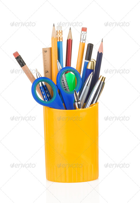 holder full of pen and pencil - Stock Photo - Images