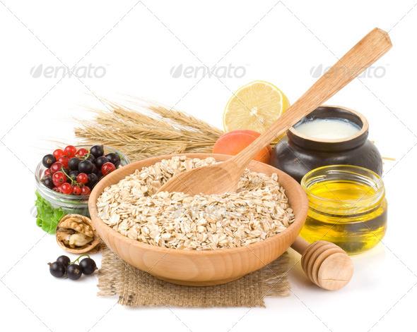 set of oat flake isolated on white - Stock Photo - Images
