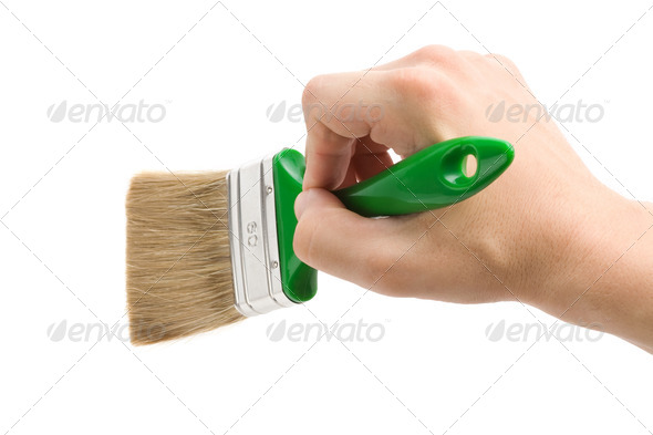 hand and paint brush - Stock Photo - Images