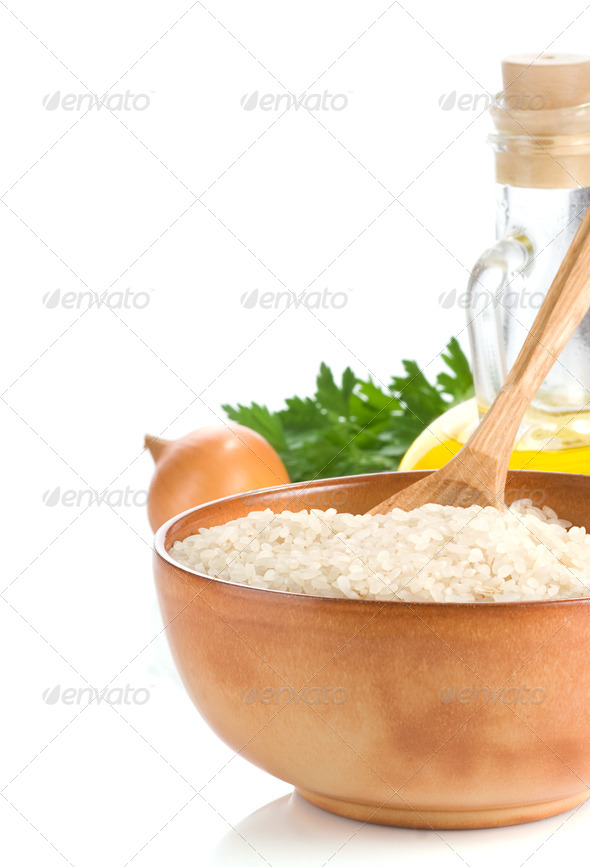 rice and healthy food on white - Stock Photo - Images