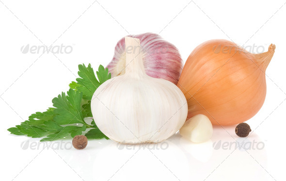 garlics and food ingredients spice - Stock Photo - Images