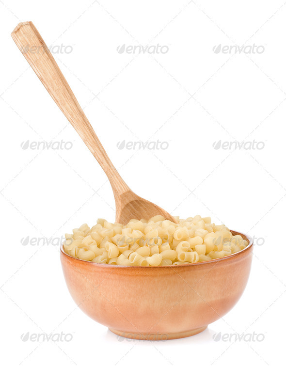 raw pasta and wooden spoon - Stock Photo - Images