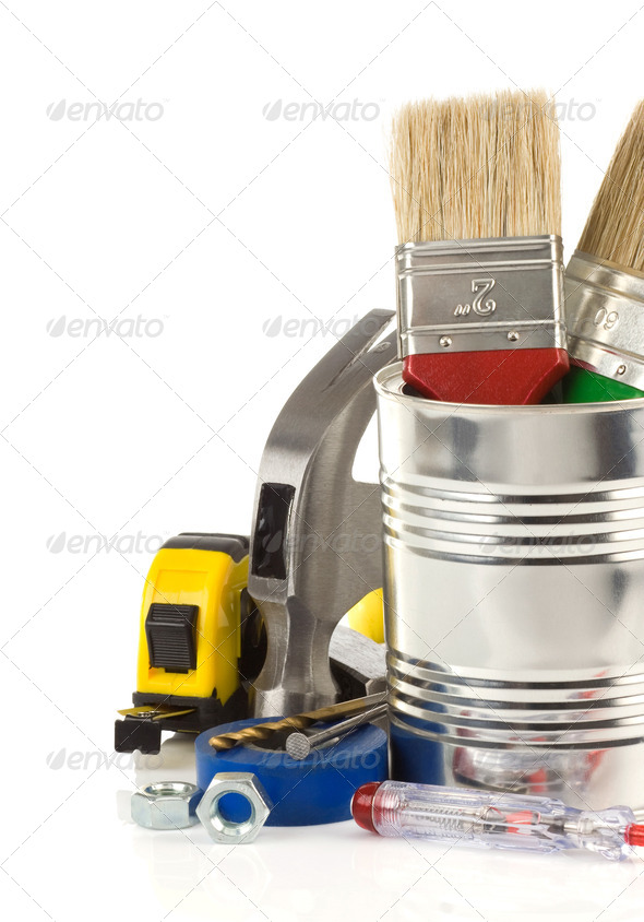 tools and box isolated on white - Stock Photo - Images