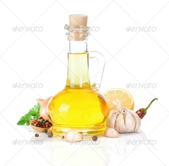 oil and food ingredients on white - Stock Photo - Images