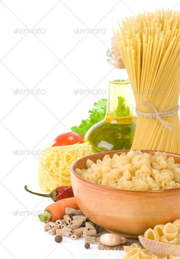 raw pasta and healthy food - Stock Photo - Images