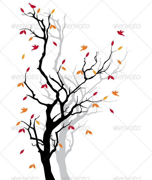 Autumn Tree, Vector Background - Flowers & Plants Nature
