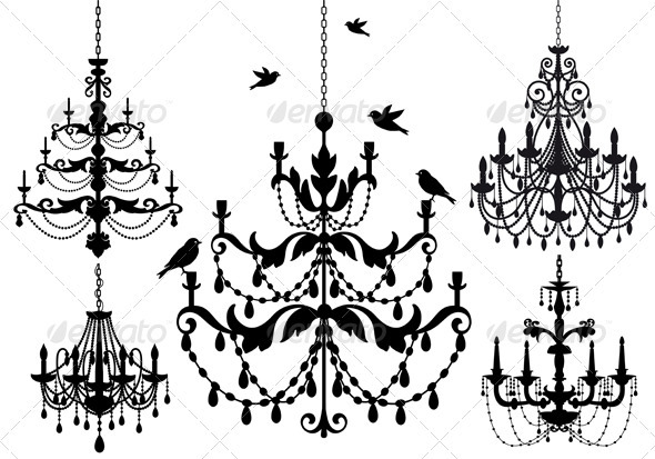 Antique chandelier vector set by amourfou graphicriver antique chandelier vector set aloadofball Images