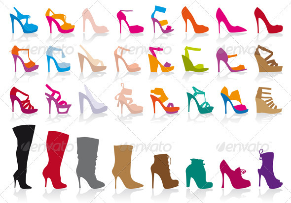 Colorful Shoes, Vector Set - Man-made Objects Objects
