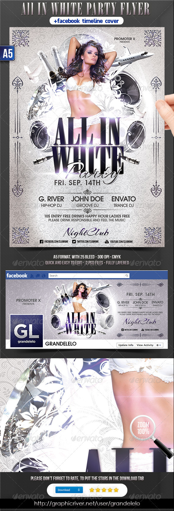 All In White Party Flyer + Facebook Timeline - Clubs & Parties Events