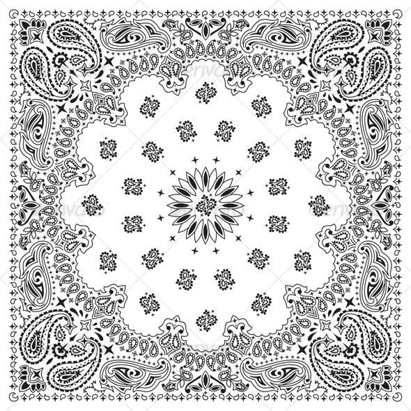 Bandana White - Flourishes / Swirls Decorative