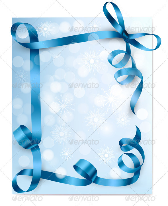 Christmas background with blue gift bow with blue  - Christmas Seasons/Holidays