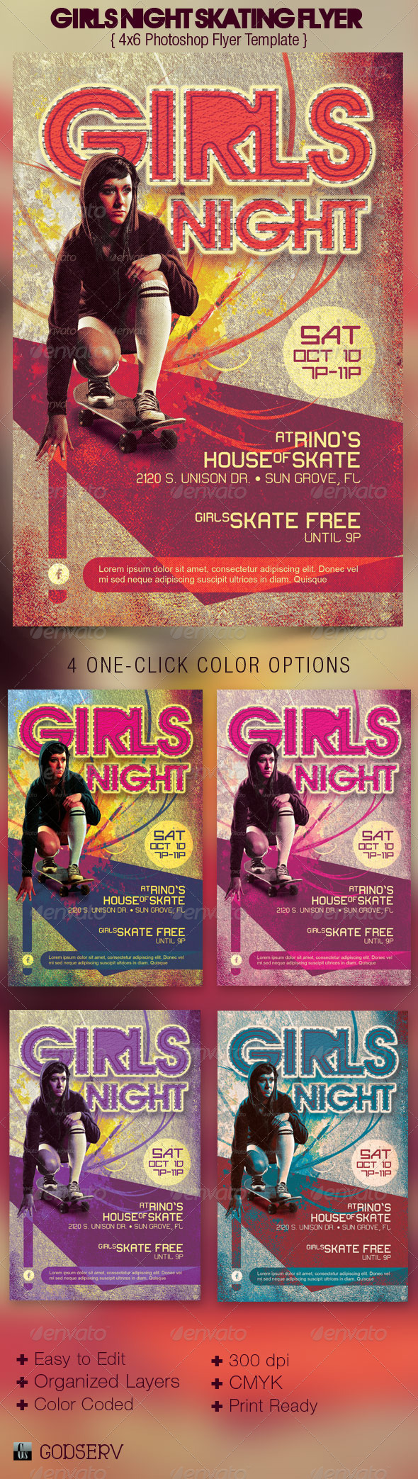 Girls Night Retro Skating Flyer Template - Events Flyers