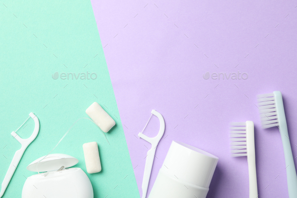 Tools for dental care on two tone background, top view - Stock Photo - Images