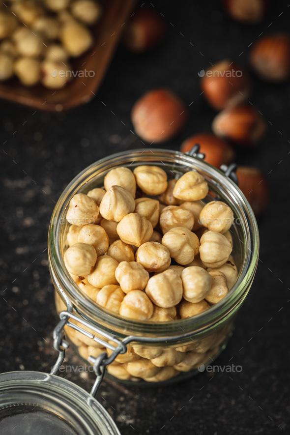 Peeled roasted hazelnut kernels. - Stock Photo - Images