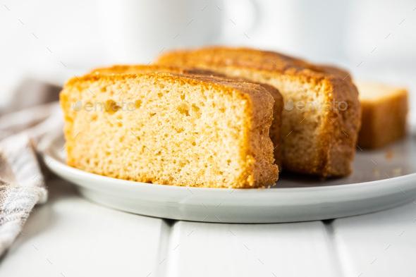 Sliced sponge dessert. Sweet sponge cake. - Stock Photo - Images