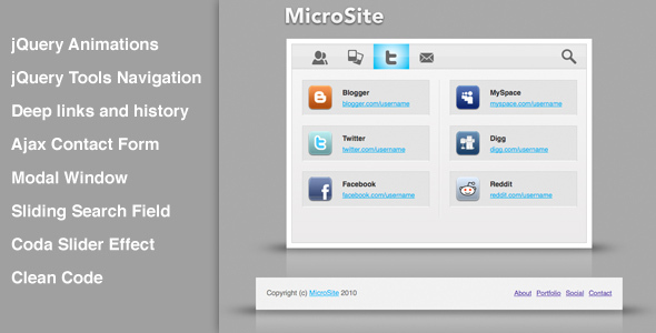 MicroSite, clean and smooth micro template - Personal Site Templates