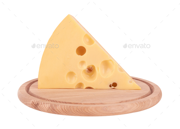 piece of cheese on board isolated on a white background - Stock Photo - Images