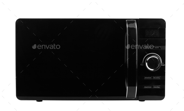 Black microwave isolated on a white background - Stock Photo - Images