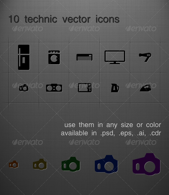 10 tech vectro icons - Technology Conceptual